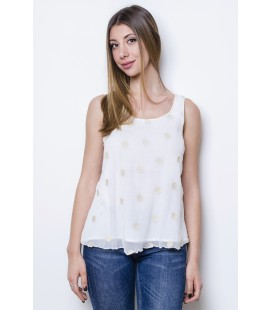 TOP CREPE SILK POLKA DOT WHITE NANA' NUCCI