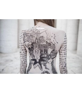 TATOO T-SHIRT IN TULLE POETRY WHITE RO' SKINWEAR