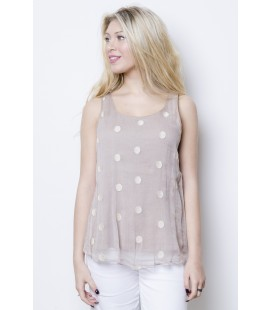 TOP CREPE SILK POLKA DOT PINK POWDER NANA' NUCCI